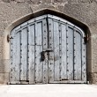 Heavy wooden gate in an ancient palace — Stock Photo