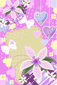 Greeting card with butterflies and flowers — Stock Vector