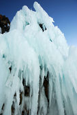 Icicles on the rock — Stock Photo