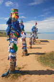 Bryat traditional holy poles — Stock Photo