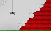 Spider on broken wall — Stock Photo