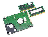 Notebook's hard disk drive and memory modules — Stock Photo