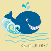 Greeting card with whale and place for text — 图库矢量图片