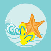 Starfish. Summer card. — Stock Vector