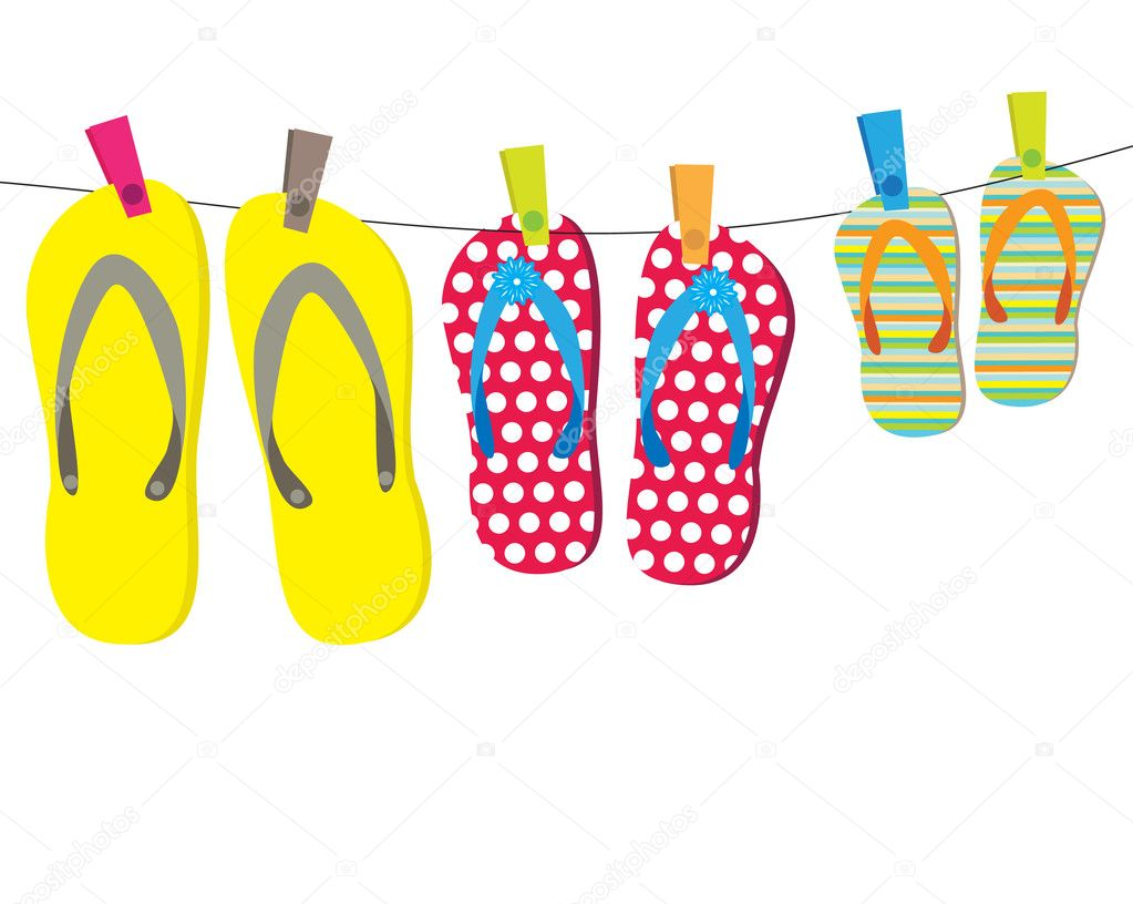 Family flip-flops. Vector illustration — Stock Vector #2874659