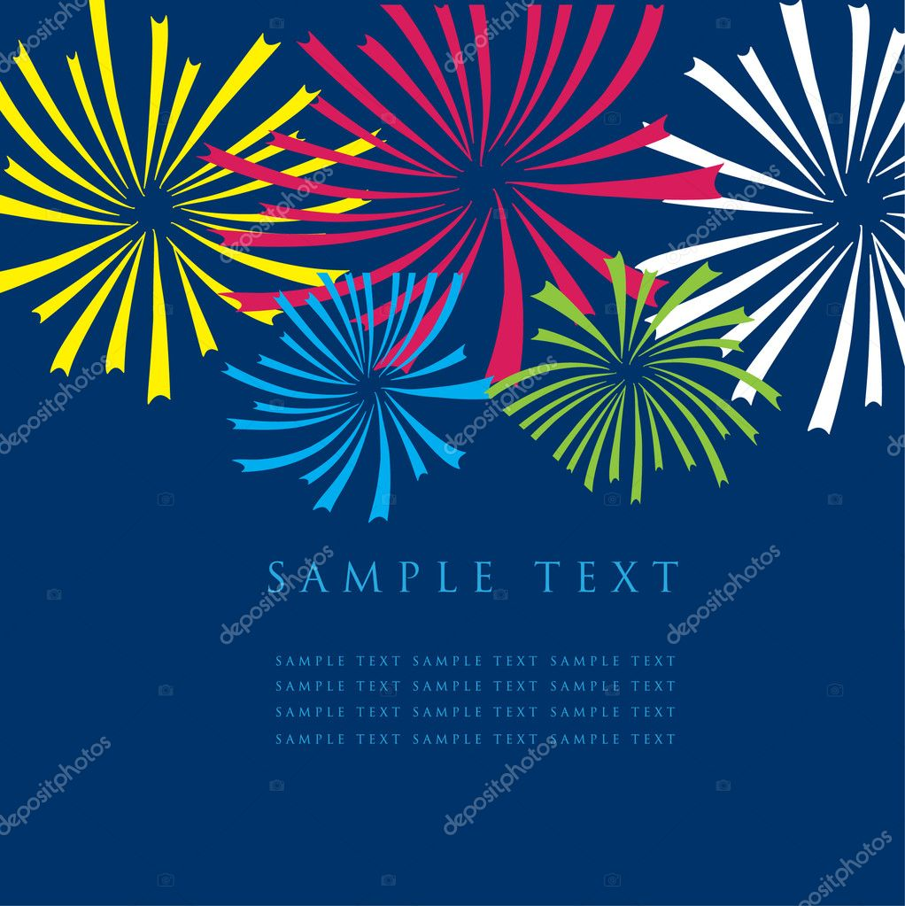 Greeting card with multicolored fireworks — Stock Vector #2874685
