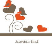 Birds couple in love. Vector illustration — Vector de stock