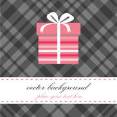 Birthday card with present box. — Vector de stock