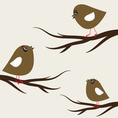 Birds couple in love. Vector illustration — Vettoriale Stock