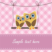 Owls couple — Vector de stock