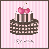 Birthday card with cherry cake — Vector de stock