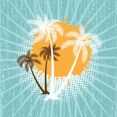 Grunge summer vector background with palms — Stok Vektör