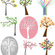 Set of different trees. Vector. - Stock Vector