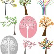 Set of different trees. Vector. — Stockvectorbeeld
