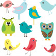 Set of different cute birds. — Image vectorielle