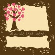 Grunge valentine`s card with love tree. — Stock Vector
