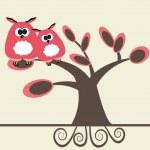 Kilka sów na rysunku tree.vector — Wektor stockowy