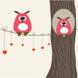 Owls couple on the tree.Vector illustration — Stock Vector