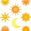 Royalty-Free Stock Vector Image: Set of sun and moon icons.