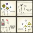 Retro floral cards set - Stock Vector