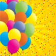Birthdays card with balloons and confetti. — Stok Vektör