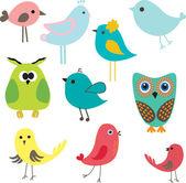 Sada různých roztomilé ptáky. — Stock vektor