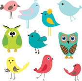 Set farklı sevimli kuş. — Stok Vektör
