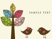 Abstraktní ptáky pár. ptáci pár v lásce vinobraní vektorové ilustrace. — Stock vektor