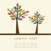 Abstract trees. Vector retro card. — Stock Vector