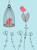 Abstract birds couple. Birds couple in love Vintage vector illustration. — Stockvector