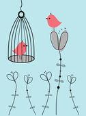 Par de pájaros abstracta. par de aves en la ilustración vintage vector amor. — Vector de stock