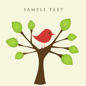 Bird on the tree. Vector. — Stock Vector