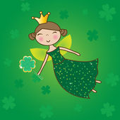 St. Patrick fairy with clover magic wand. — Stockvector