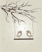 几个抽象的鸟。鸟类夫妇在爱复古矢量图. — 图库矢量图片