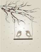 Abstract birds couple. Birds couple in love Vintage vector illustration. — Stock vektor