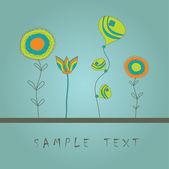 花のグリーティング カード. — ストックベクタ