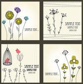Conjunto de tarjetas retras floral — Vector de stock