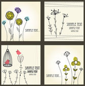 Jeu de cartes floral rétro — Vecteur