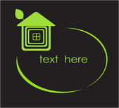 Green house. Vector frame for your text. — Vector de stock