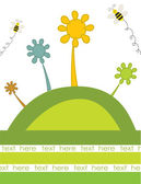Abstract flowers and bees on the green hill. Vector retro card. — Stock Vector