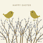 Willow branch. Easter card. — Stock Vector