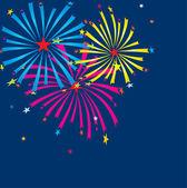 Xmas fireworks on the dark sky. Vector illustration — Stock Vector