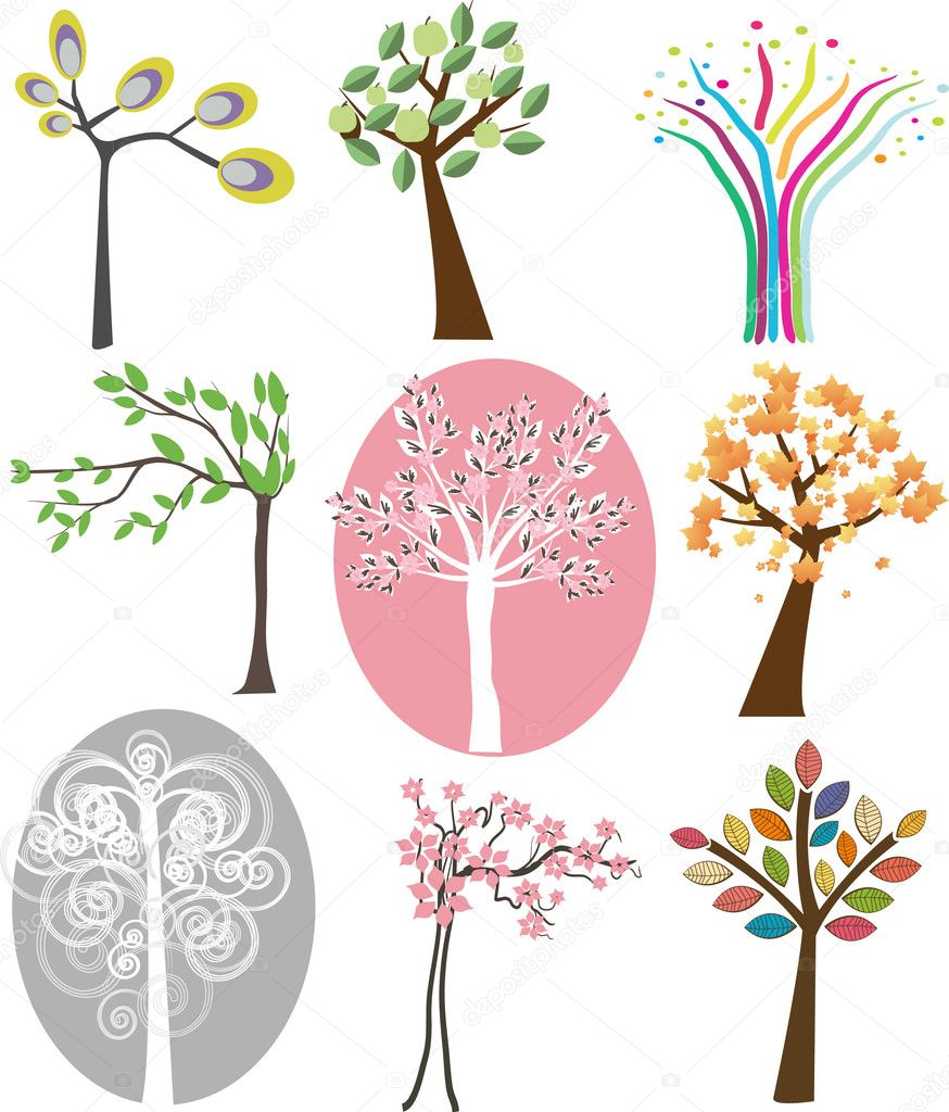 Set of different trees. Vector. — Stock Vector #3840508