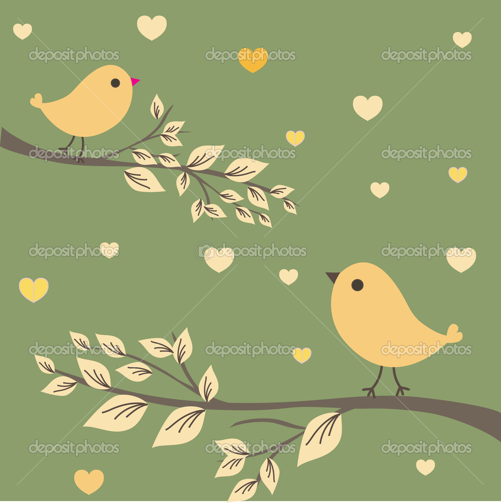 Abstract birds couple. Vintage vector illustration. Birds couple in love — Stock Vector #3840637