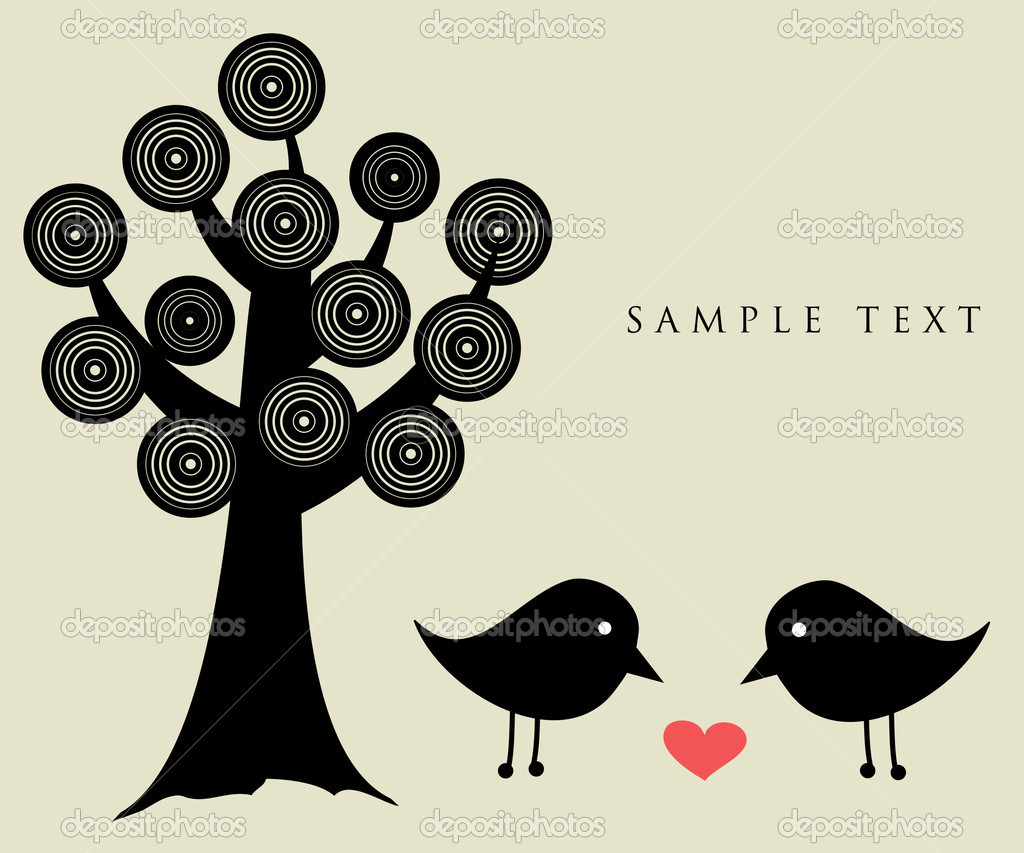 Abstract birds couple. Vintage vector illustration. Birds couple in love  Stock Vector #3840641