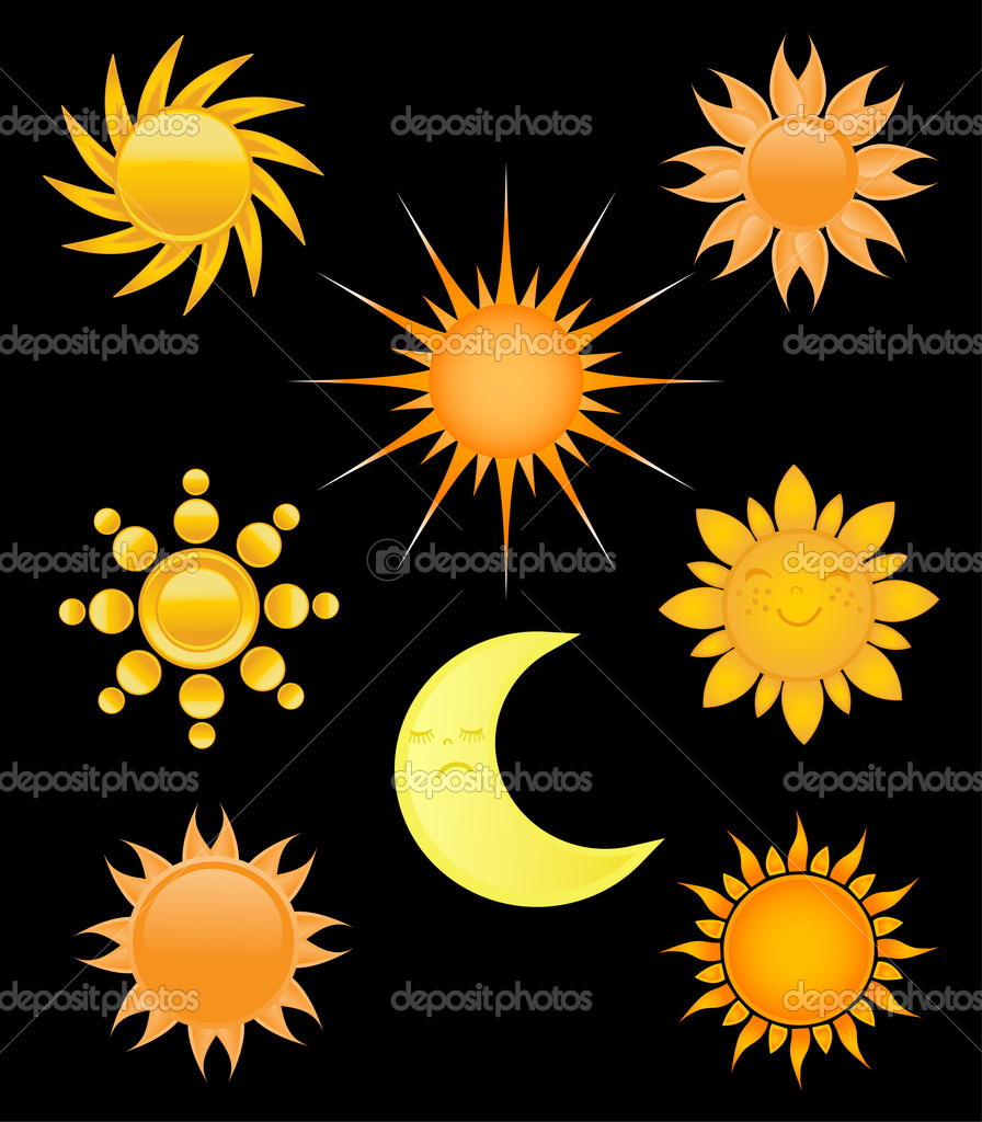Set of sun and moon icons.  — Stock Vector #3841578