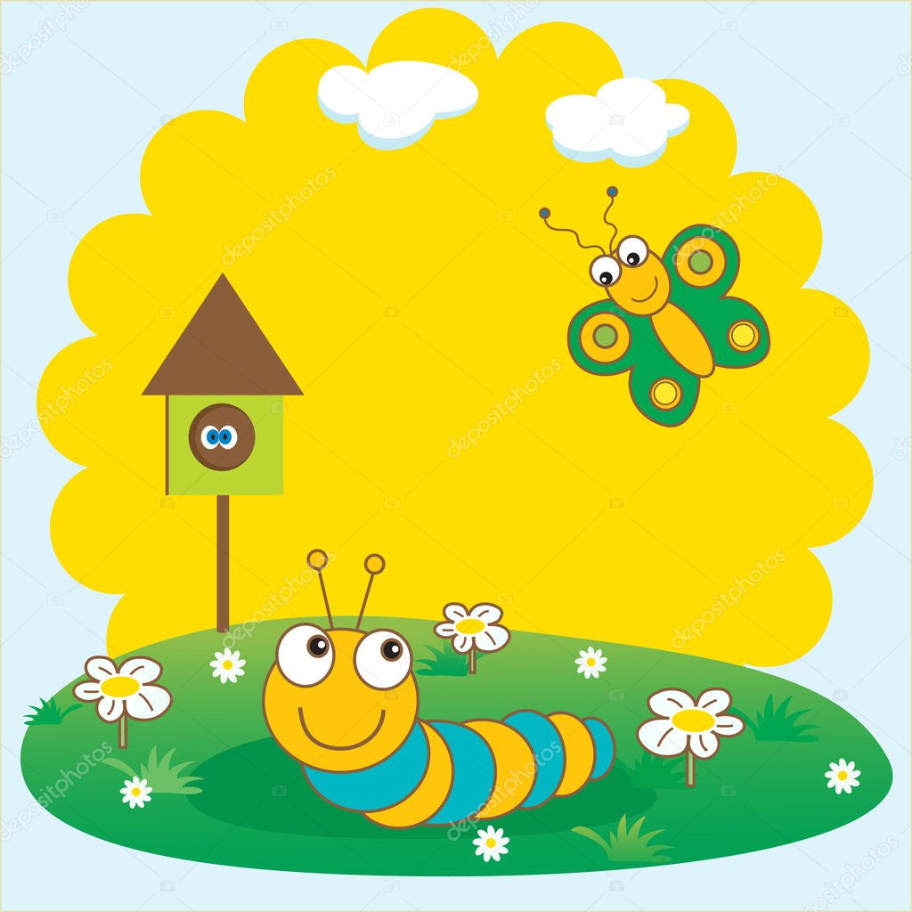 Cute caterpillar. Vector illustration.   Stock Vector #3841848