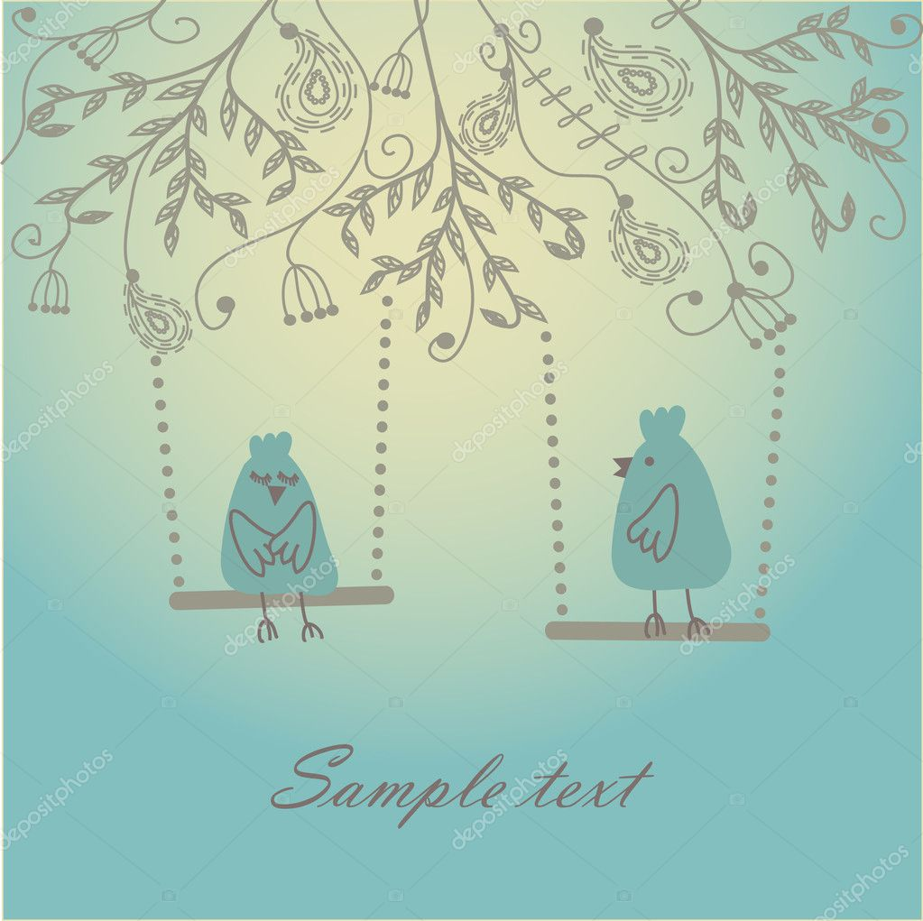 Abstract birds couple. Vintage vector illustration. Birds couple in love  Stock Vector #3842081