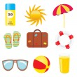 Set of beach and summer icons — Stock Vector
