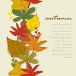 Vertical seamless border with autumn leaves background. - Stock Vector